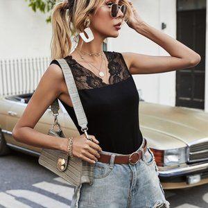 black v neck lace tank top sleeveless spring